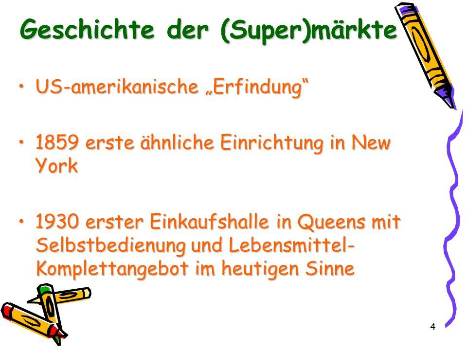 5 in Europa: 1948 in Zürich erster Supermarkt überhauptin Europa: 1948 in Zürich erster Supermarkt überhaupt in Deutschland: 1949 Osnabrückin Deutschland: 1949 Osnabrück am Selbstbedienungsprinzip gescheitert am Selbstbedienungsprinzip gescheitert 1954 Edeka in Deutschland (nur Lebensmittel)1954 Edeka in Deutschland (nur Lebensmittel) ab 1959 auch Non-food-Produkteab 1959 auch Non-food-Produkte Geschichte der (Super)märkte