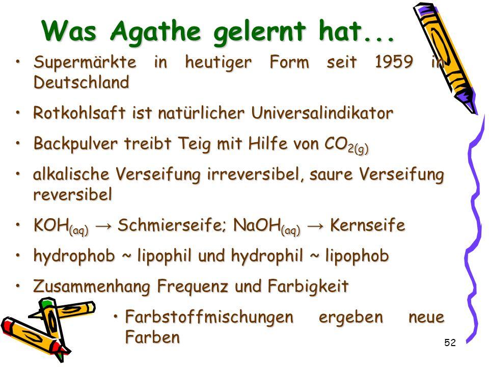52 Was Agathe gelernt hat... Supermärkte in heutiger Form seit 1959 in DeutschlandSupermärkte in heutiger Form seit 1959 in Deutschland Rotkohlsaft is