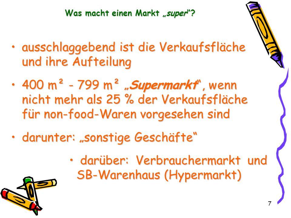 7 Was macht einen Markt super? ausschlaggebend ist die Verkaufsfläche und ihre Aufteilungausschlaggebend ist die Verkaufsfläche und ihre Aufteilung 40