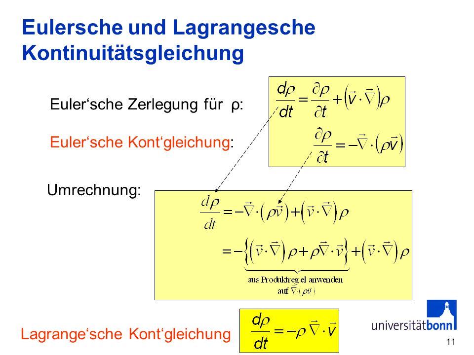11 Eulersche und Lagrangesche Kontinuitätsgleichung Eulersche Zerlegung für ρ: Eulersche Kontgleichung: Umrechnung: Lagrangesche Kontgleichung
