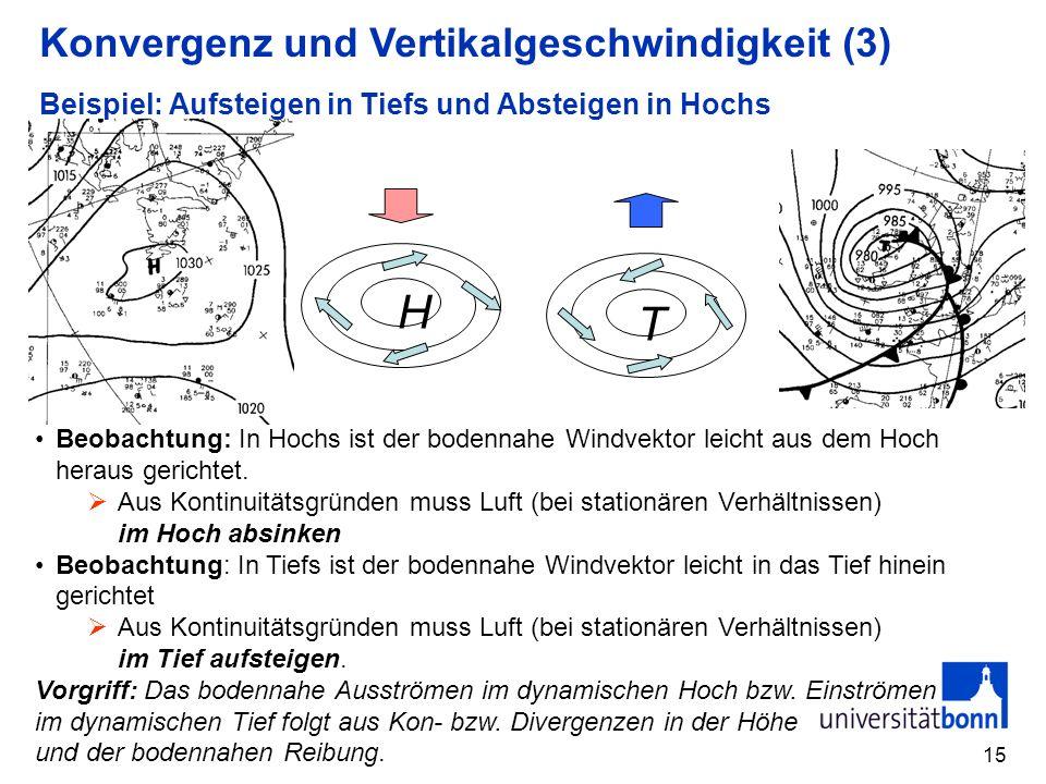 15 Beispiel: Aufsteigen in Tiefs und Absteigen in Hochs H T Beobachtung: In Hochs ist der bodennahe Windvektor leicht aus dem Hoch heraus gerichtet. A