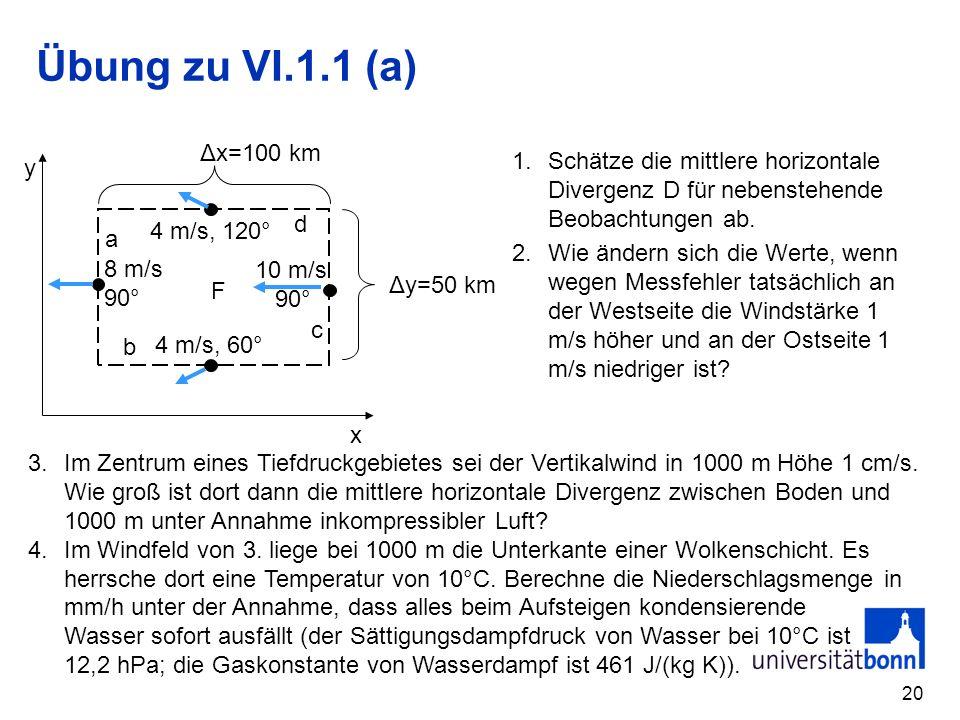 20 Übung zu VI.1.1 (a) x y F a b c d Δx=100 km Δy=50 km 4 m/s, 60° 10 m/s 90° 4 m/s, 120° 8 m/s 90° 1.Schätze die mittlere horizontale Divergenz D für