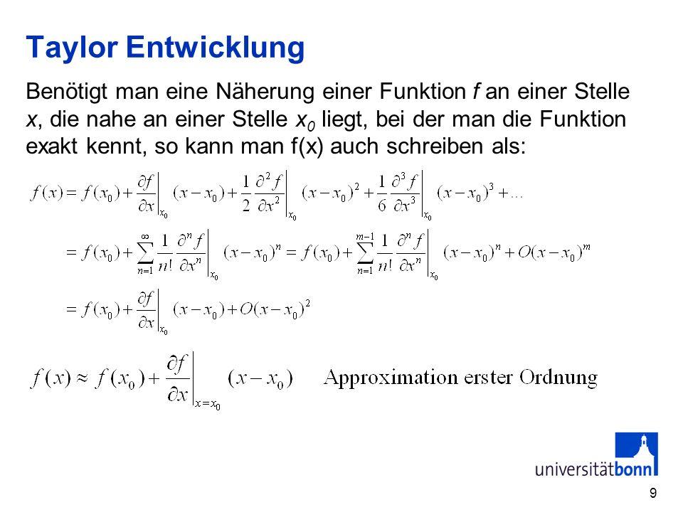 Taylor Entwicklung Benötigt man eine Näherung einer Funktion f an einer Stelle x, die nahe an einer Stelle x 0 liegt, bei der man die Funktion exakt k