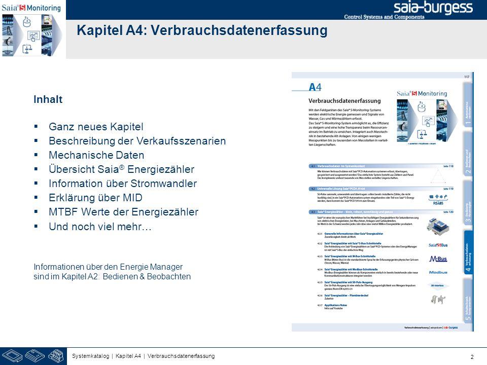 2 Kapitel A4: Verbrauchsdatenerfassung Inhalt Ganz neues Kapitel Beschreibung der Verkaufsszenarien Mechanische Daten Übersicht Saia ® Energiezähler I