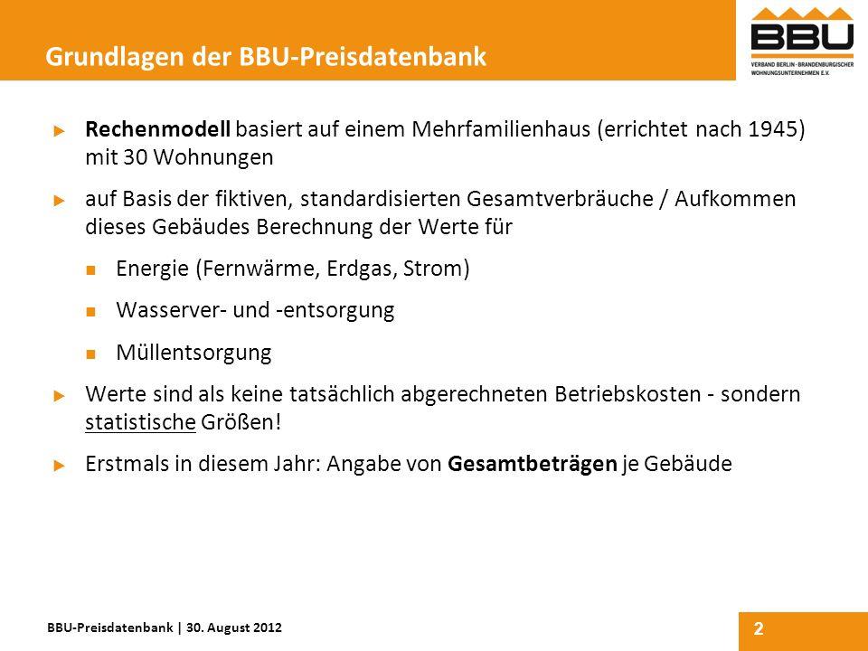 2 Grundlagen der BBU-Preisdatenbank Rechenmodell basiert auf einem Mehrfamilienhaus (errichtet nach 1945) mit 30 Wohnungen auf Basis der fiktiven, sta