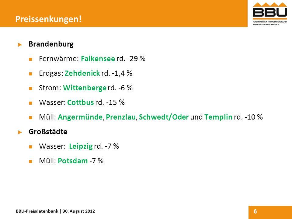 6 Preissenkungen! Brandenburg Fernwärme: Falkensee rd. -29 % Erdgas: Zehdenick rd. -1,4 % Strom: Wittenberge rd. -6 % Wasser: Cottbus rd. -15 % Müll: