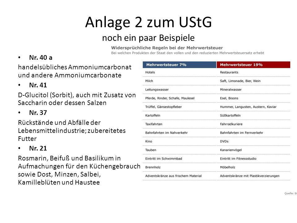 Anlage 2 zum UStG noch ein paar Beispiele Nr.