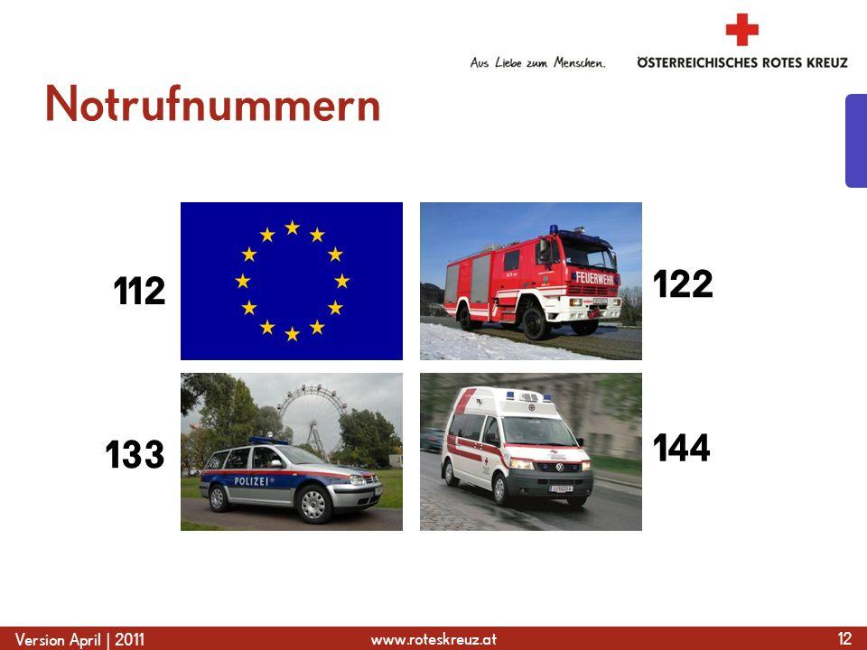 www.roteskreuz.at Version April | 2011 Notrufnummern 12 133 112 122 144
