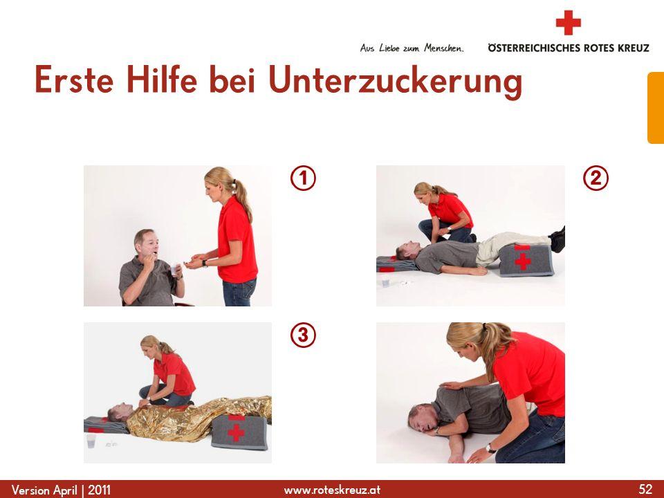 www.roteskreuz.at Version April | 2011 Erste Hilfe bei Unterzuckerung 52