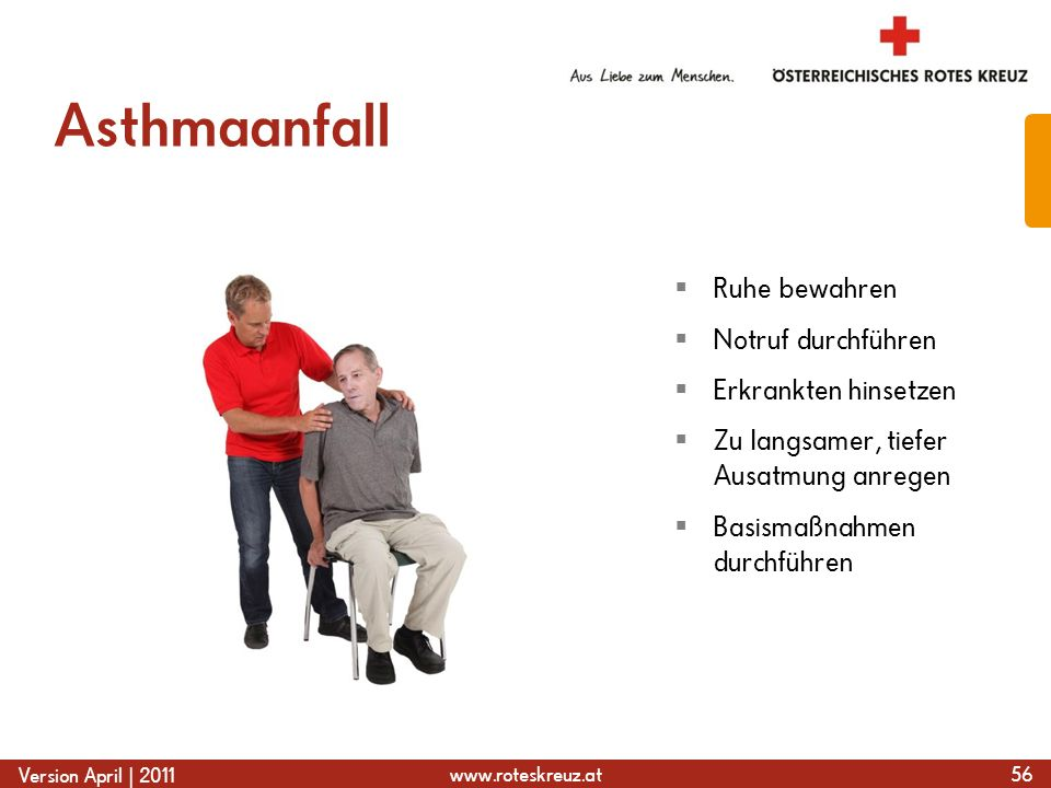 www.roteskreuz.at Version April | 2011 Asthmaanfall 56 Ruhe bewahren Notruf durchführen Erkrankten hinsetzen Zu langsamer, tiefer Ausatmung anregen Ba