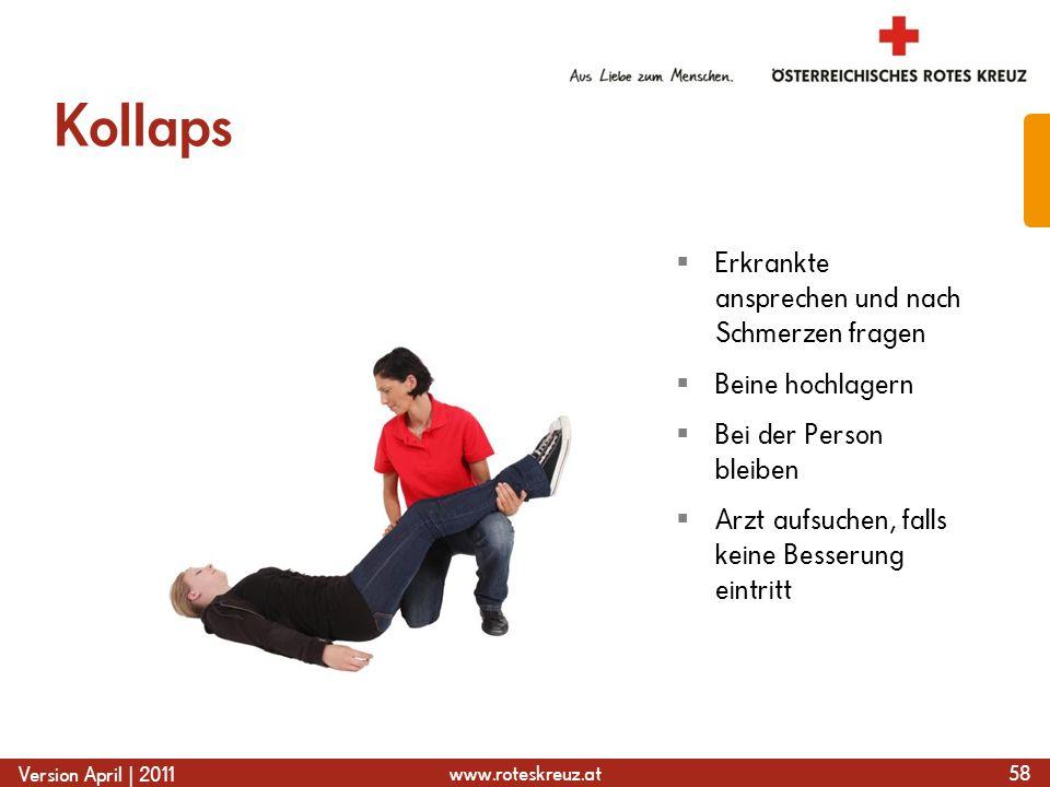 www.roteskreuz.at Version April | 2011 Kollaps 58 Erkrankte ansprechen und nach Schmerzen fragen Beine hochlagern Bei der Person bleiben Arzt aufsuche