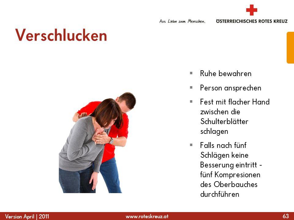 www.roteskreuz.at Version April | 2011 Verschlucken 63 Ruhe bewahren Person ansprechen Fest mit flacher Hand zwischen die Schulterblätter schlagen Fal