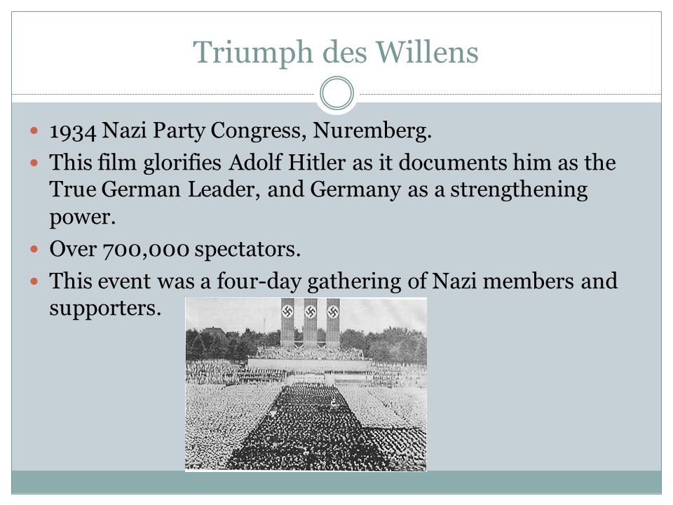 Triumph des Willens 1934 Nazi Party Congress, Nuremberg. This film glorifies Adolf Hitler as it documents him as the True German Leader, and Germany a