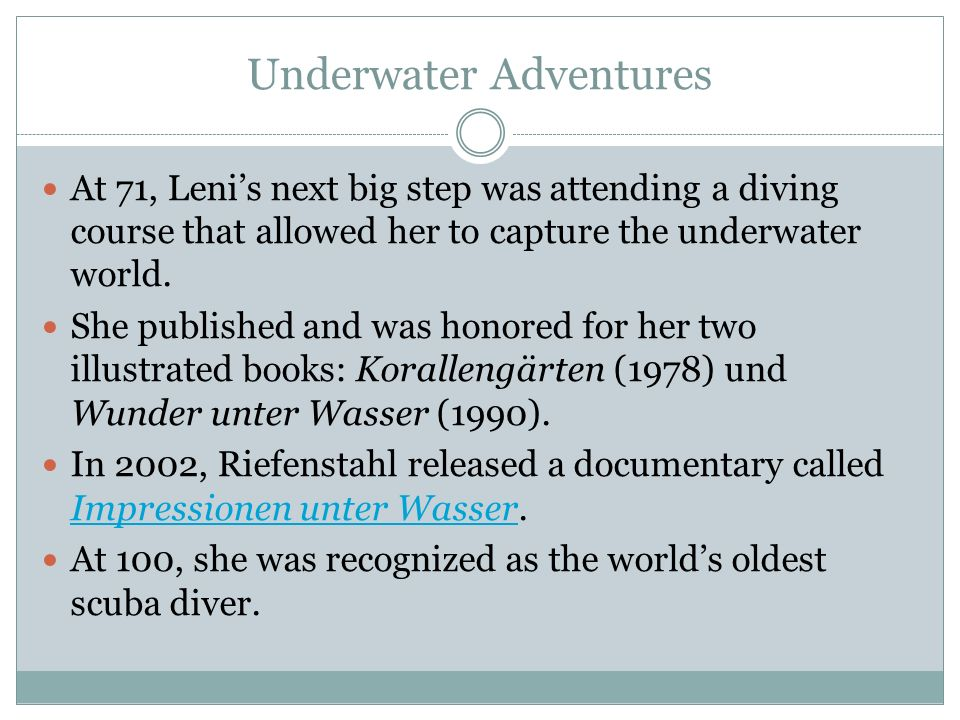 Underwater Adventures At 71, Lenis next big step was attending a diving course that allowed her to capture the underwater world. She published and was
