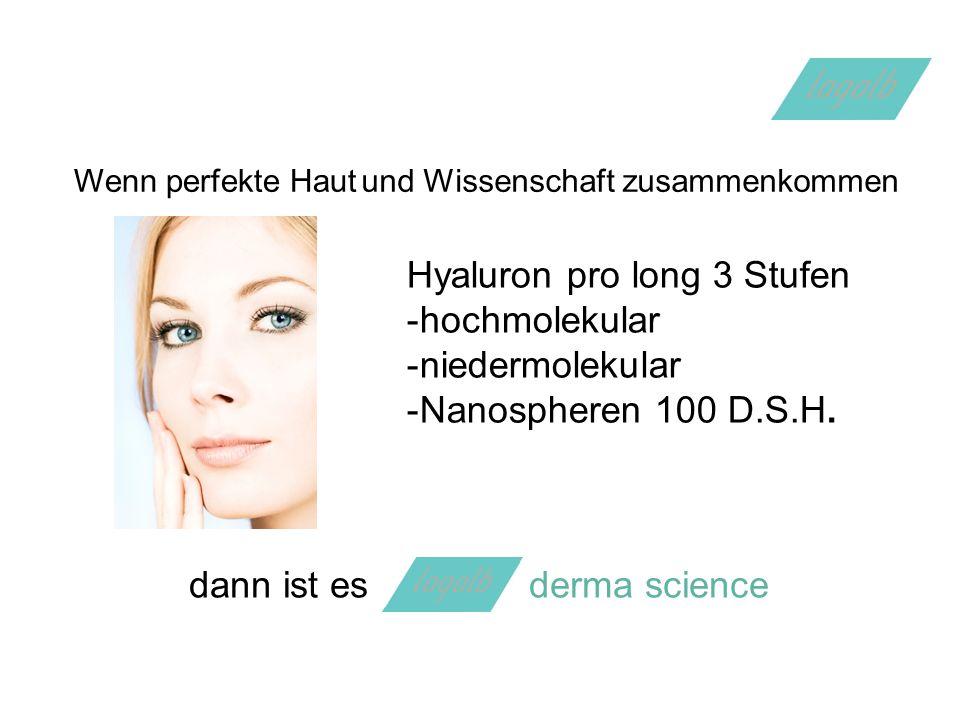Wenn perfekte Hautund Wissenschaft zusammenkommen Hyaluron pro long 3 Stufen -hochmolekular -niedermolekular -Nanospheren 100 D.S.H.