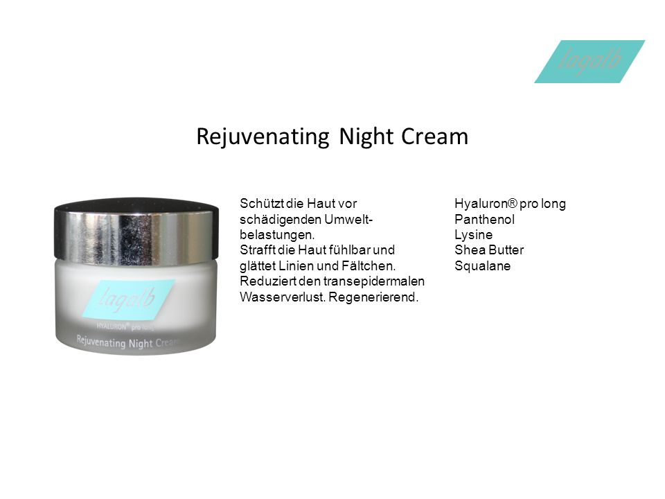 Rejuvenating Night Cream Schützt die Haut vor schädigenden Umwelt- belastungen.