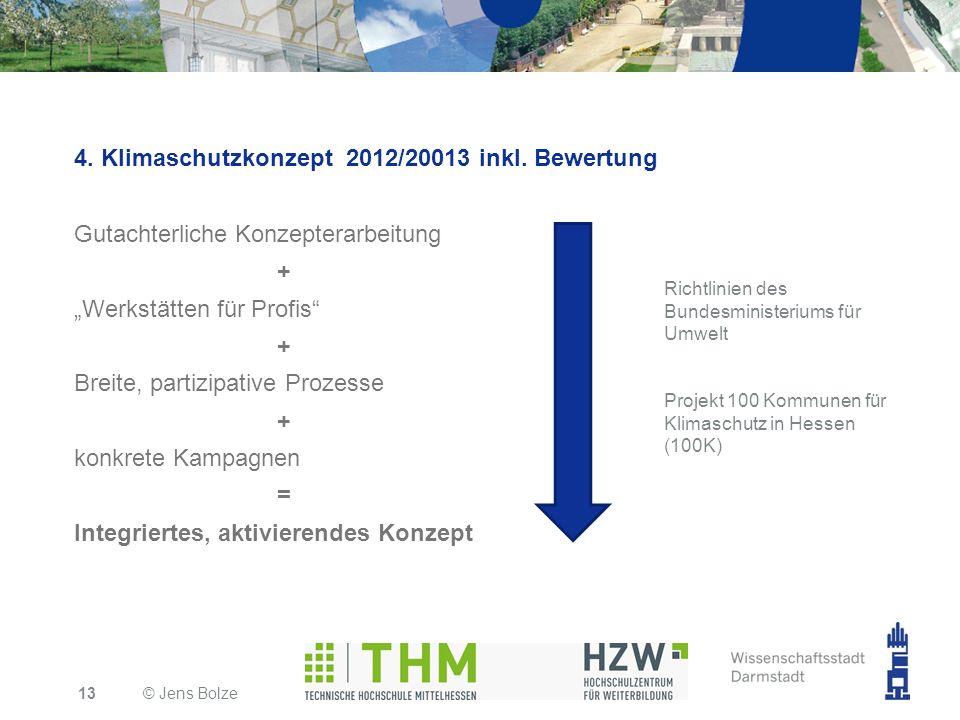 4. Klimaschutzkonzept 2012/20013 inkl. Bewertung Gutachterliche Konzepterarbeitung + Werkstätten für Profis + Breite, partizipative Prozesse + konkret