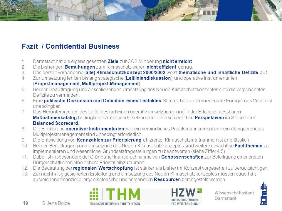 Fazit / Confidential Business 1.Darmstadt hat die eigens gesetzten Ziele zur CO2-Minderung nicht erreicht. 2.Die bisherigen Bemühungen zum Klimaschutz