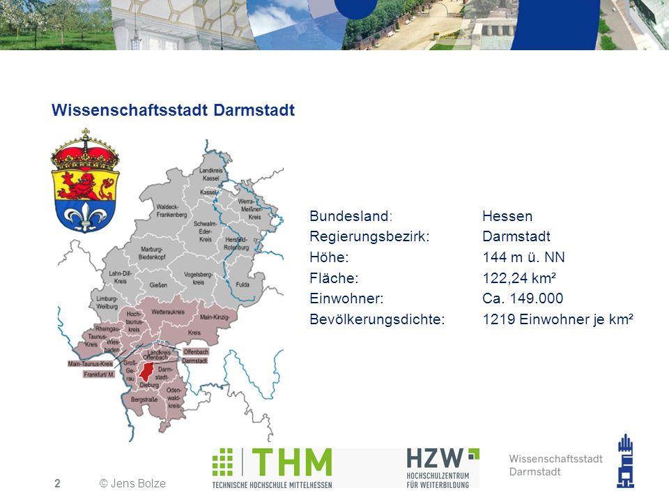 Wissenschaftsstadt Darmstadt © Jens Bolze2 Bundesland:Hessen Regierungsbezirk:Darmstadt Höhe:144 m ü. NN Fläche:122,24 km² Einwohner:Ca. 149.000 Bevöl
