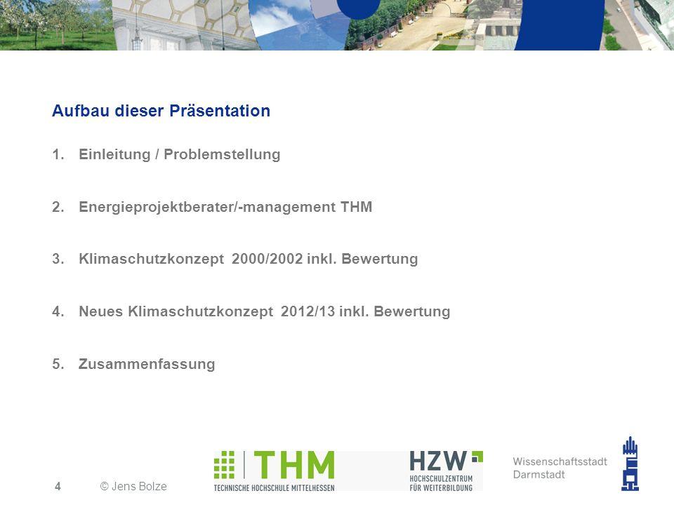 Aufbau dieser Präsentation 1.Einleitung / Problemstellung 2.Energieprojektberater/-management THM 3.Klimaschutzkonzept 2000/2002 inkl. Bewertung 4.Neu
