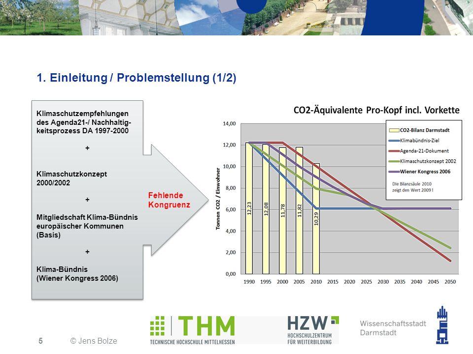 1. Einleitung / Problemstellung (1/2) © Jens Bolze5 Klimaschutzempfehlungen des Agenda21-/ Nachhaltig- keitsprozess DA 1997-2000 + Klimaschutzkonzept