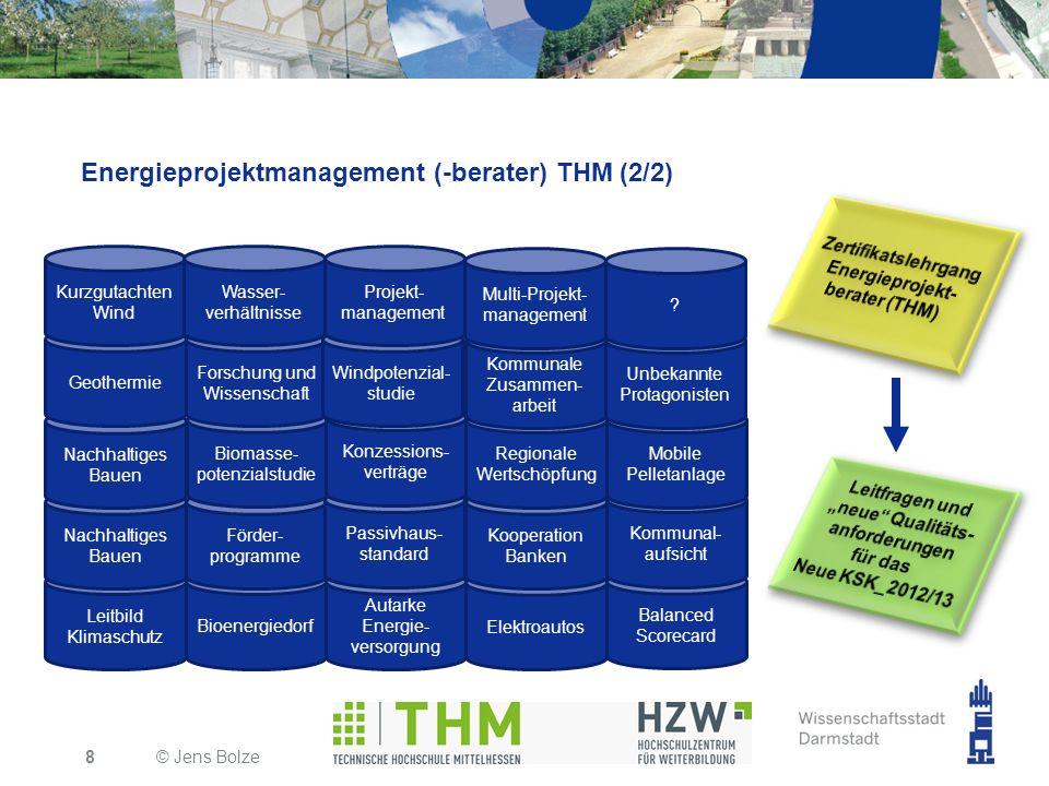 Energieprojektmanagement (-berater) THM (2/2) © Jens Bolze8 Leitbild Klimaschutz Bioenergiedorf Autarke Energie- versorgung Elektroautos Nachhaltiges