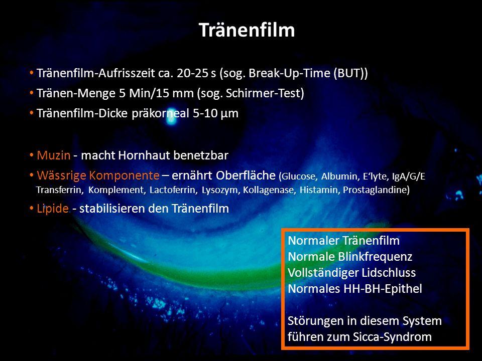 GG Tränenfilm-Aufrisszeit ca. 20-25 s (sog. Break-Up-Time (BUT)) Tränen-Menge 5 Min/15 mm (sog. Schirmer-Test) Tränenfilm-Dicke präkorneal 5-10 µm Muz