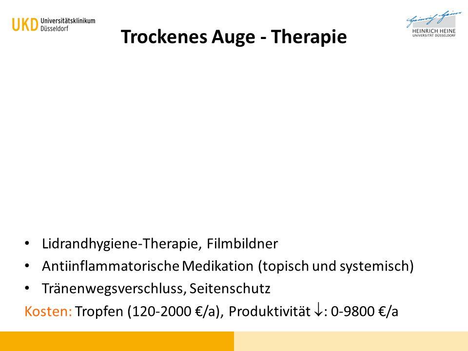 Trockenes Auge - Therapie Lidrandhygiene-Therapie, Filmbildner Antiinflammatorische Medikation (topisch und systemisch) Tränenwegsverschluss, Seitensc