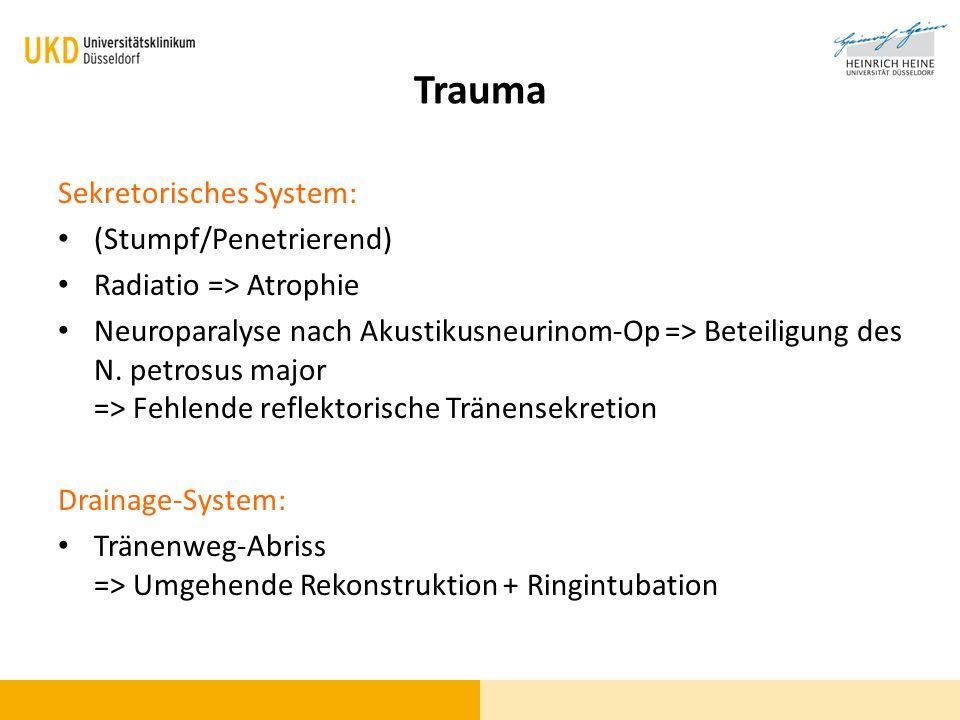 Sekretorisches System: (Stumpf/Penetrierend) Radiatio => Atrophie Neuroparalyse nach Akustikusneurinom-Op => Beteiligung des N. petrosus major => Fehl