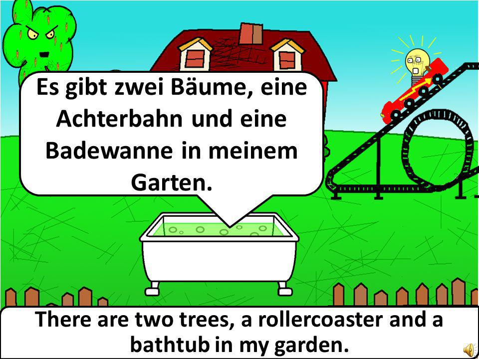 There are two trees, a rollercoaster and a bathtub in my garden.