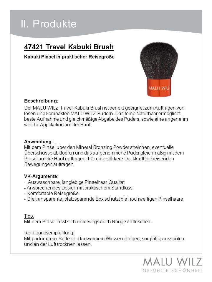 Beschreibung: Der MALU WILZ Travel Kabuki Brush ist perfekt geeignet zum Auftragen von losen und kompakten MALU WILZ Pudern. Das feine Naturhaar ermög