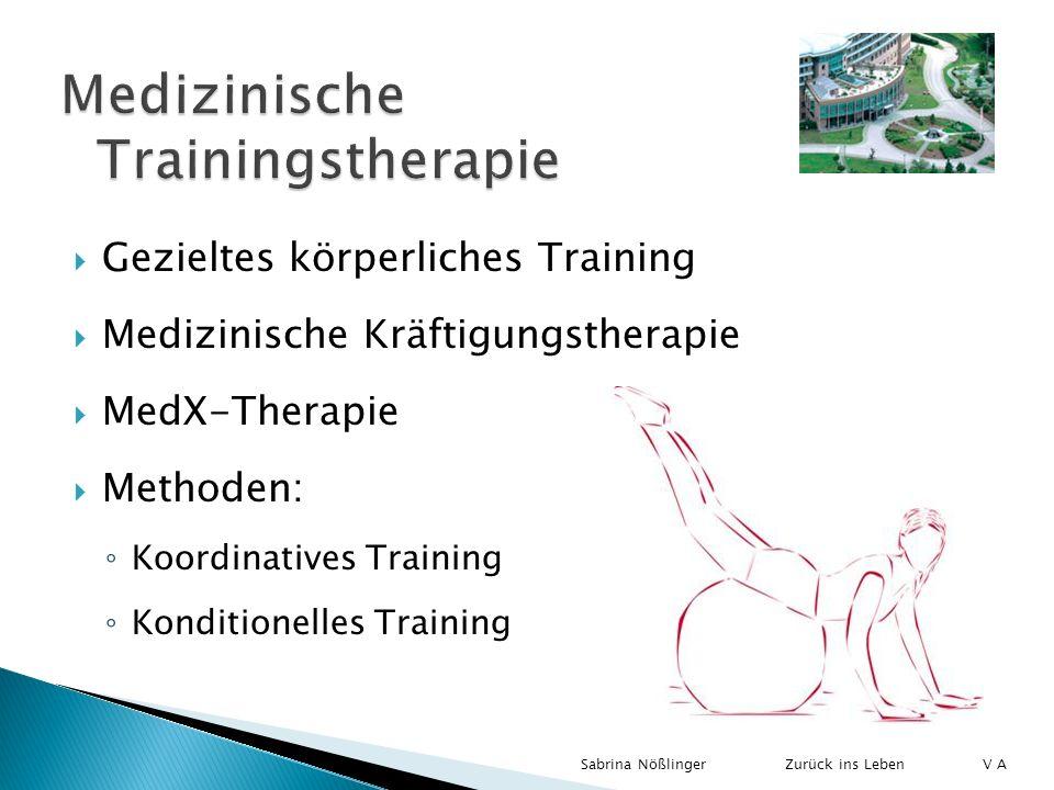 Gezieltes körperliches Training Medizinische Kräftigungstherapie MedX-Therapie Methoden: Koordinatives Training Konditionelles Training Zurück ins Leb