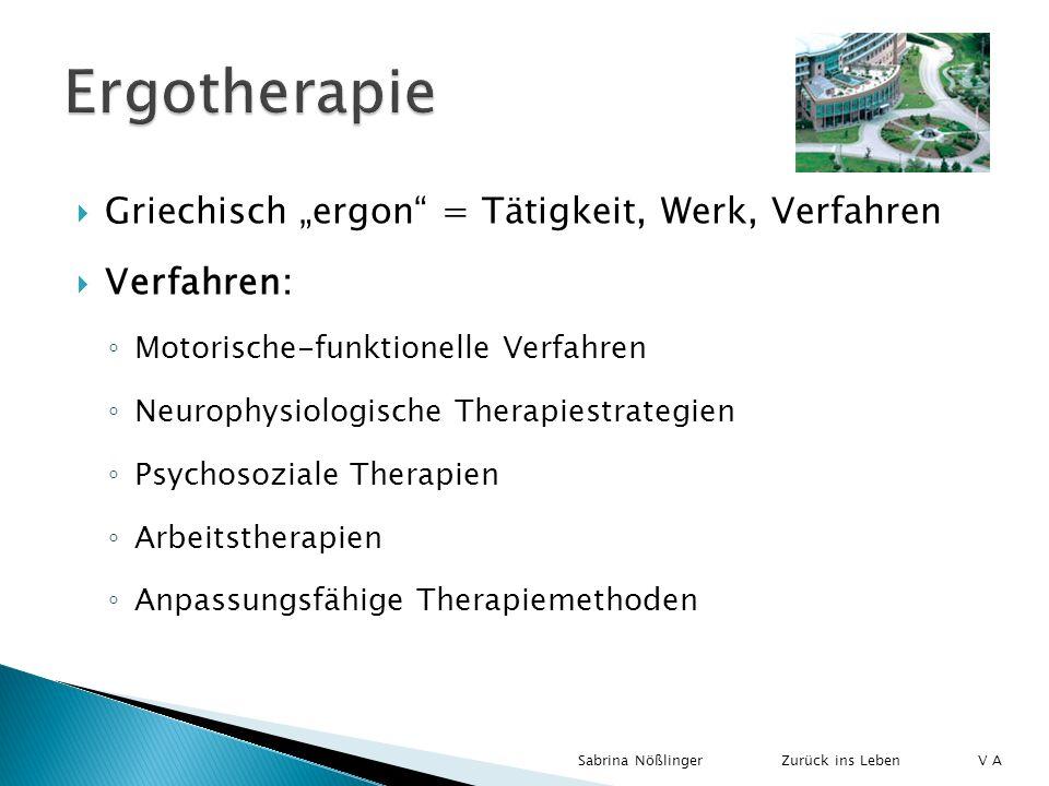 Griechisch ergon = Tätigkeit, Werk, Verfahren Verfahren: Motorische-funktionelle Verfahren Neurophysiologische Therapiestrategien Psychosoziale Therap