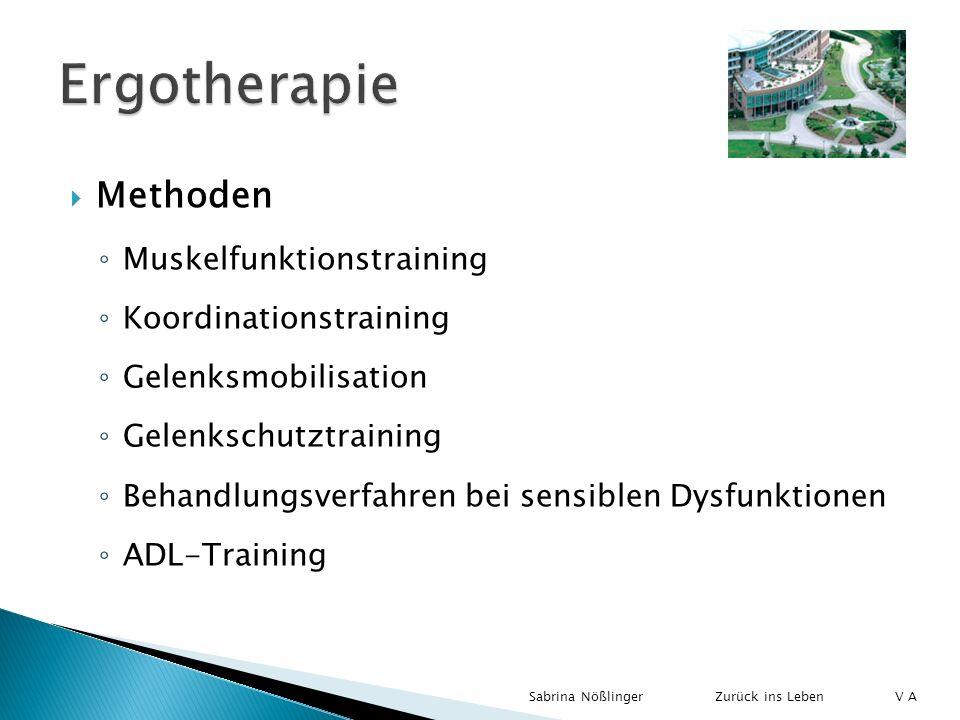 Methoden Muskelfunktionstraining Koordinationstraining Gelenksmobilisation Gelenkschutztraining Behandlungsverfahren bei sensiblen Dysfunktionen ADL-T
