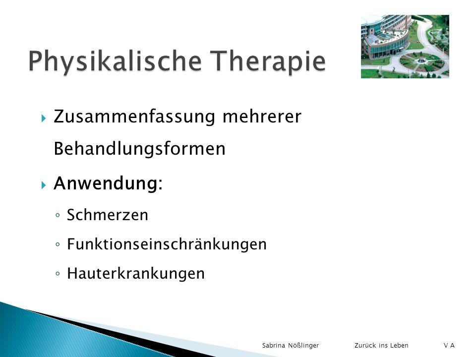 Zusammenfassung mehrerer Behandlungsformen Anwendung: Schmerzen Funktionseinschränkungen Hauterkrankungen Zurück ins LebenSabrina Nößlinger V A