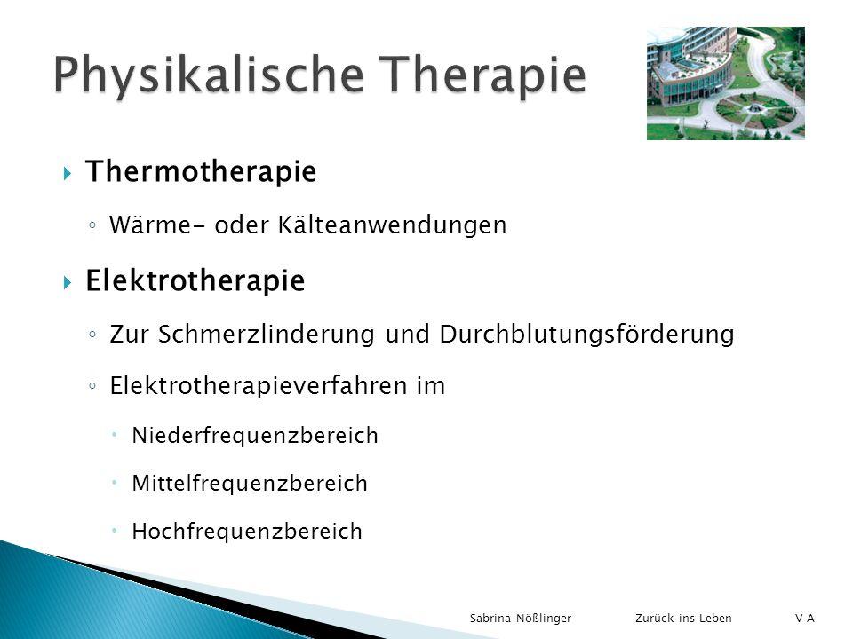 Thermotherapie Wärme- oder Kälteanwendungen Elektrotherapie Zur Schmerzlinderung und Durchblutungsförderung Elektrotherapieverfahren im Niederfrequenz