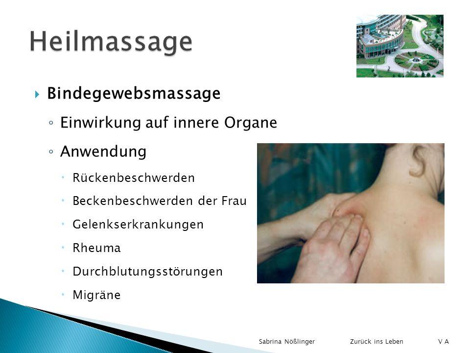 Bindegewebsmassage Einwirkung auf innere Organe Anwendung Rückenbeschwerden Beckenbeschwerden der Frau Gelenkserkrankungen Rheuma Durchblutungsstörung