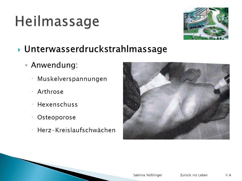 Unterwasserdruckstrahlmassage Anwendung: Muskelverspannungen Arthrose Hexenschuss Osteoporose Herz-Kreislaufschwächen Zurück ins LebenSabrina Nößlinge