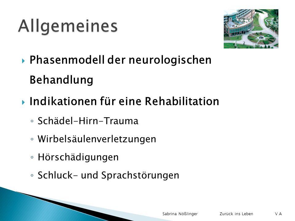 Phasenmodell der neurologischen Behandlung Indikationen für eine Rehabilitation Schädel-Hirn-Trauma Wirbelsäulenverletzungen Hörschädigungen Schluck-