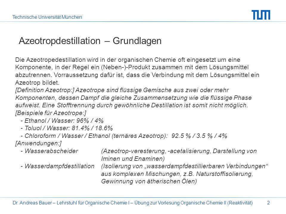 Technische Universität München Dr. Andreas Bauer – Lehrstuhl für Organische Chemie I – Übung zur Vorlesung Organische Chemie II (Reaktivität)2 Azeotro