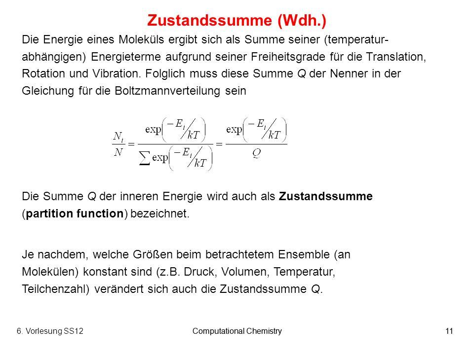 6. Vorlesung SS12Computational Chemistry11Computational Chemistry11 Die Energie eines Moleküls ergibt sich als Summe seiner (temperatur- abhängigen) E