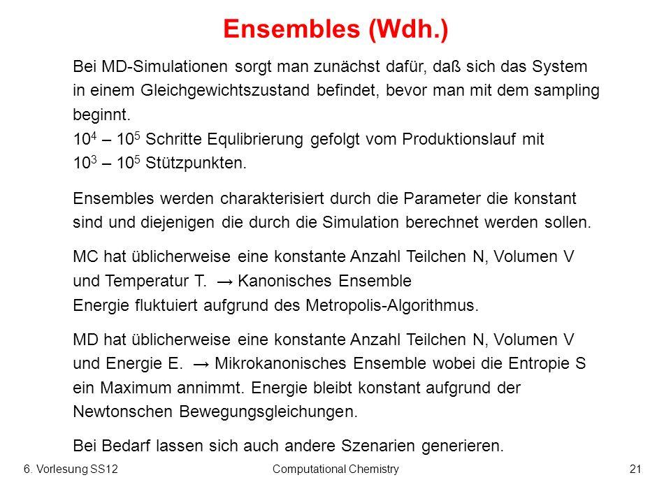 6. Vorlesung SS12Computational Chemistry21 Ensembles (Wdh.) Bei MD-Simulationen sorgt man zunächst dafür, daß sich das System in einem Gleichgewichtsz