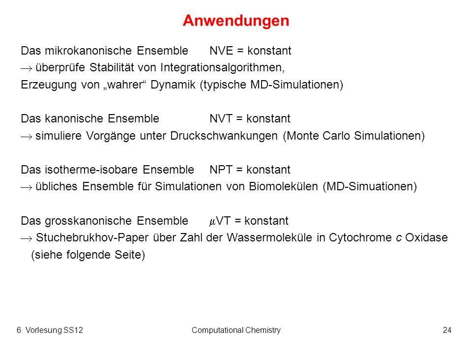 6. Vorlesung SS12Computational Chemistry24 Anwendungen Das mikrokanonische EnsembleNVE = konstant überprüfe Stabilität von Integrationsalgorithmen, Er