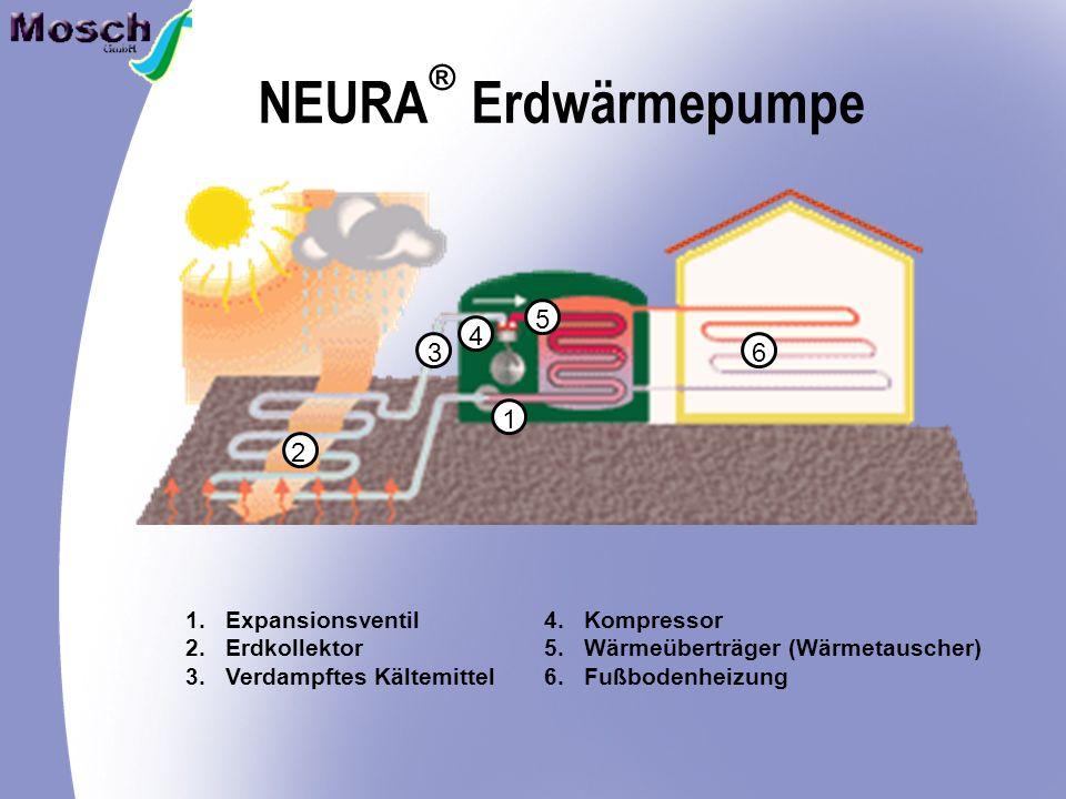 NEURA Erdwärmepumpe ® 2 3 4 5 1 6 1.Expansionsventil 2.Erdkollektor 3.Verdampftes Kältemittel 4.Kompressor 5.Wärmeüberträger (Wärmetauscher) 6.Fußbodenheizung