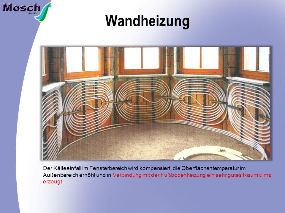 Wandheizung Der Kälteeinfall im Fensterbereich wird kompensiert, die Oberflächentemperatur im Außenbereich erhöht und in Verbindung mit der Fußbodenheizung ein sehr gutes Raumklima erzeugt.