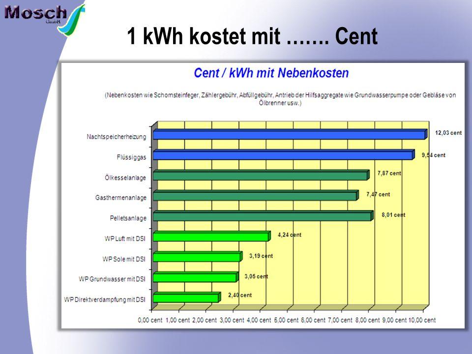 1 kWh kostet mit ……. Cent