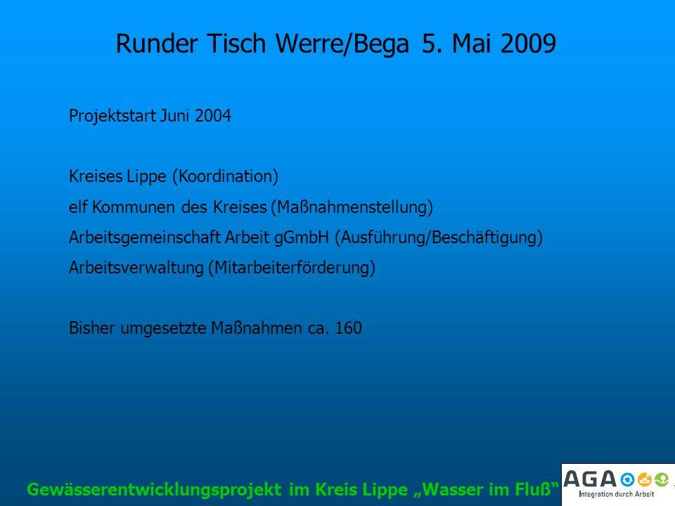 Runder Tisch Werre/Bega 5. Mai 2009 Projektstart Juni 2004 Kreises Lippe (Koordination) elf Kommunen des Kreises (Maßnahmenstellung) Arbeitsgemeinscha