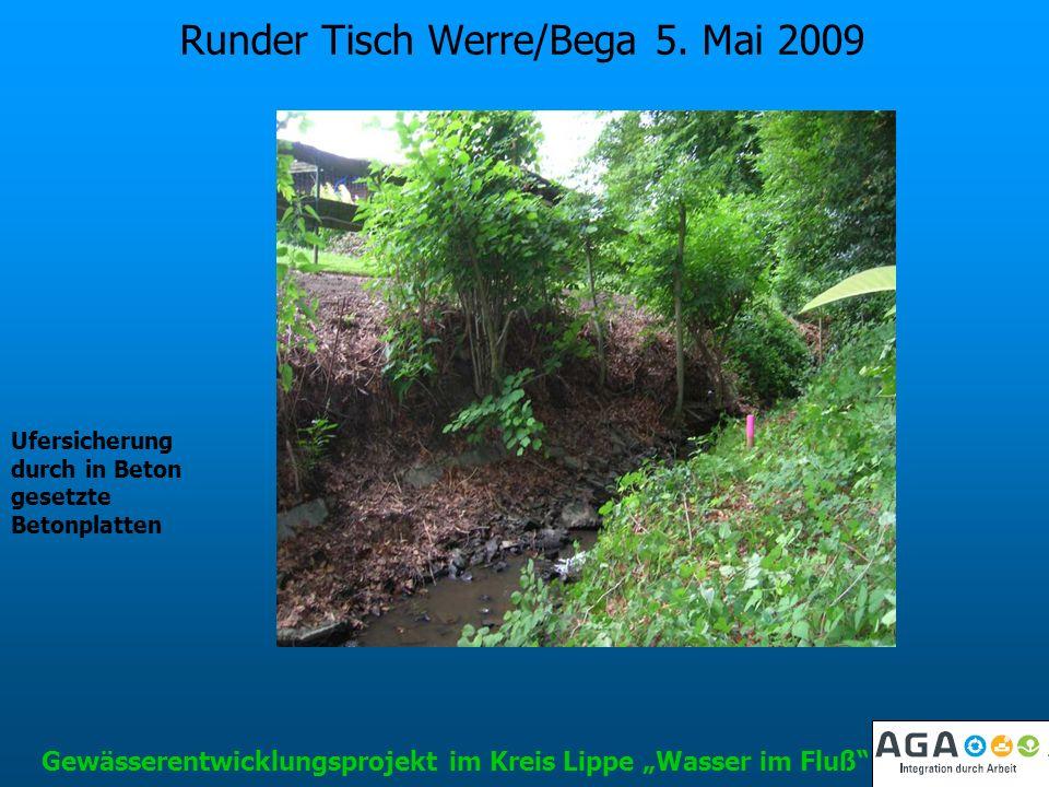 Runder Tisch Werre/Bega 5. Mai 2009 Gewässerentwicklungsprojekt im Kreis Lippe Wasser im Fluß Ufersicherung durch in Beton gesetzte Betonplatten