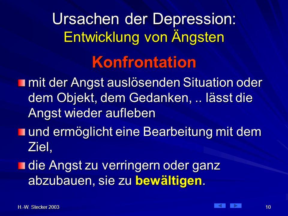 H.-W. Stecker 2003 10 Ursachen der Depression: Entwicklung von Ängsten Konfrontation mit der Angst auslösenden Situation oder dem Objekt, dem Gedanken