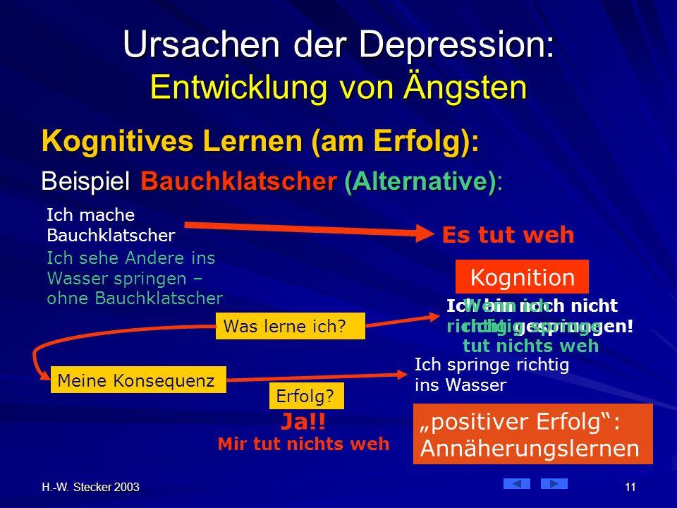 H.-W. Stecker 2003 11 Ich mache Bauchklatscher Ursachen der Depression: Entwicklung von Ängsten Kognitives Lernen (am Erfolg): Beispiel Bauchklatscher